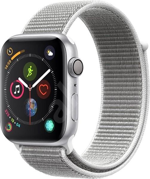 Apple Watch Series 4 44mm Stříbrný hliník s mušlově bílým provlékacím sportovním řemínkem - Chytré hodinky