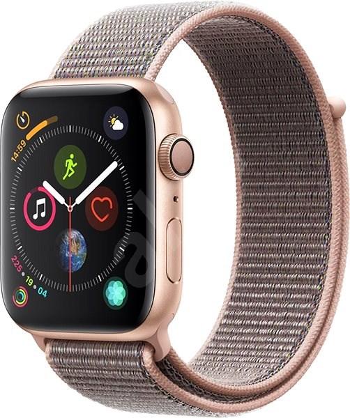 Apple Watch Series 4 44mm Zlatý hliník s pískově růžovým provlékacím sportovním řemínkem - Chytré hodinky