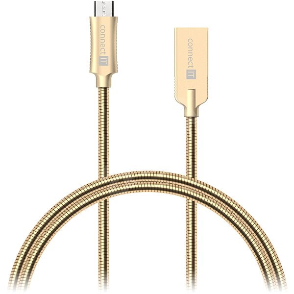 CONNECT IT Wirez Steel Knight Micro USB 1m, metallic gold - Datový kabel