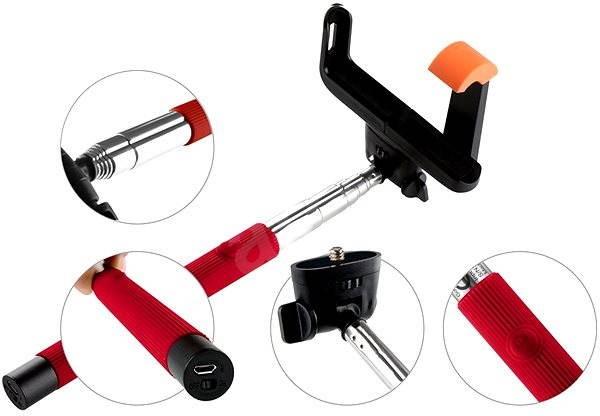 Gogen BT Selfie 2 teleskopická červená - Selfie tyč