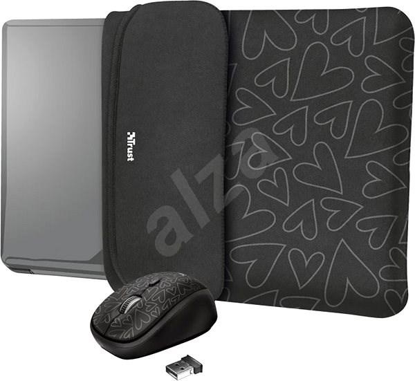 TRUST YVO MOUSE & SLEEVE F/15.6 – BLACK - Pouzdro na notebook