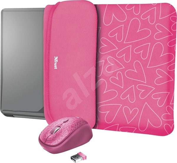 TRUST YVO MOUSE & SLEEVE F/15.6 – PINK - Pouzdro na notebook
