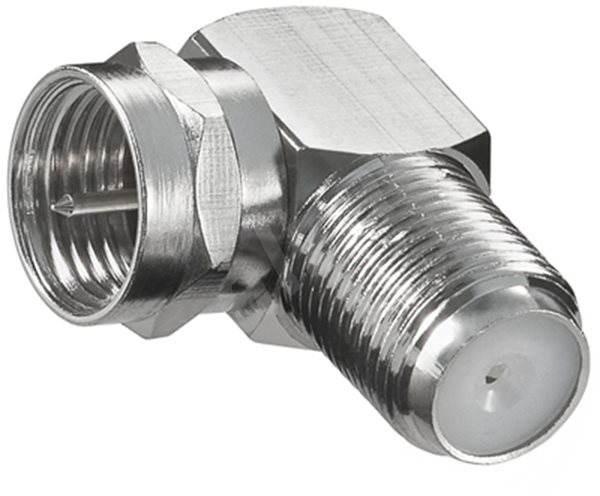 redukce z konektoru F-Male na F-Female do úhlu 90° - satelitní anténní přechodka
