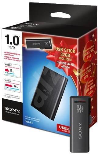 "Sony 2.5"" HDD 1TB Černý + 32GB USB Flash disk - Externí disk"