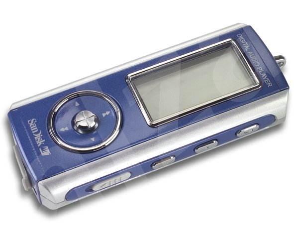 SanDisk Digital Audio Player - 512 MB, modrý (blue), MP3/WMA přehrávač, FM Tuner, dig. záznamník, US - MP3 přehrávač