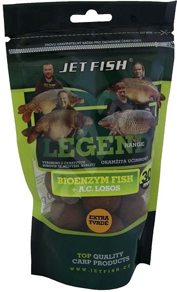 Jet Fish Extra tvrdé boilie Legend Bioenzym Fish + Losos/Asafoetida 30mm 250g - Boilies