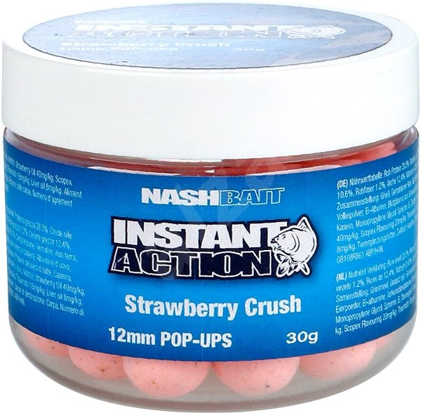 Nash Instant Action Strawberry Crush Pop Ups 12mm 30g - Pop-up boilies