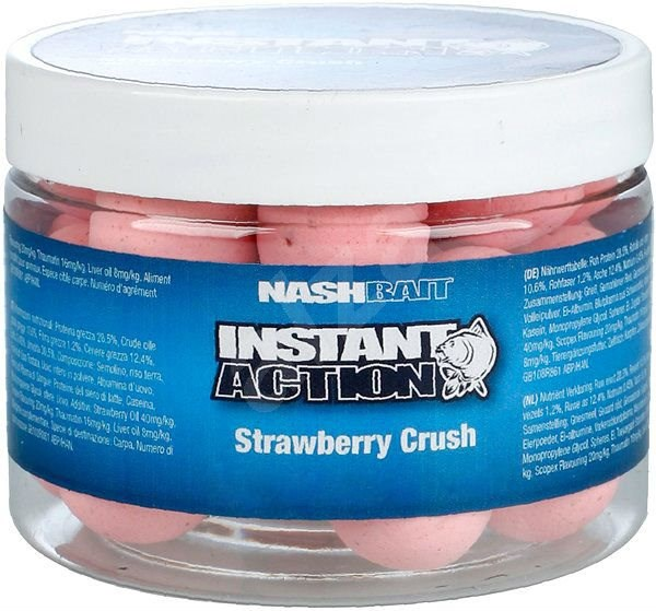 Nash Instant Action Strawberry Crush Pop Ups 20mm 60g - Pop-up boilies