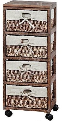 Kesper Regál pojízdný s úložnými boxy - hnědý dekor - Regál
