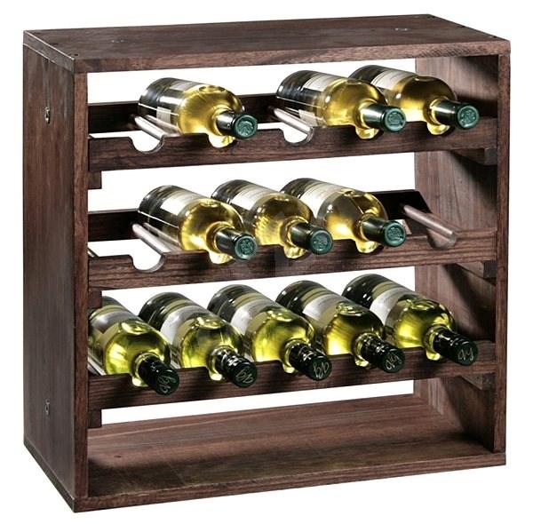 Kesper Stojan na víno, borovice tmavá 50x50x25cm - Regál na víno