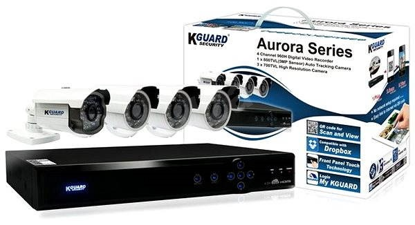 KGUARD 4-kanálový rekordér + 4x barevná venkovní kamera - Kamerový systém