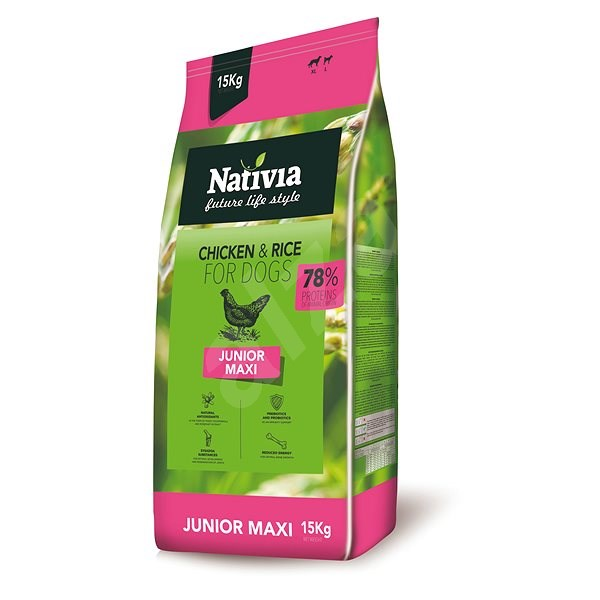 Nativia Junior maxi - Chicken & Rice 15 kg - Granule pro štěňata