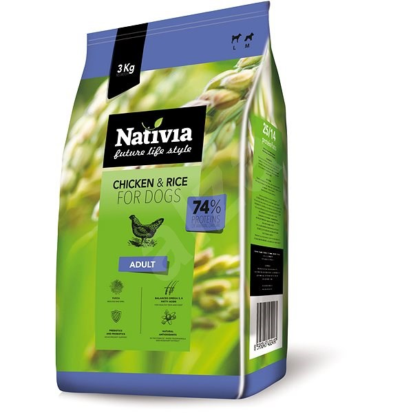 Nativia Adult - Chicken & Rice3 kg - Granule pro psy