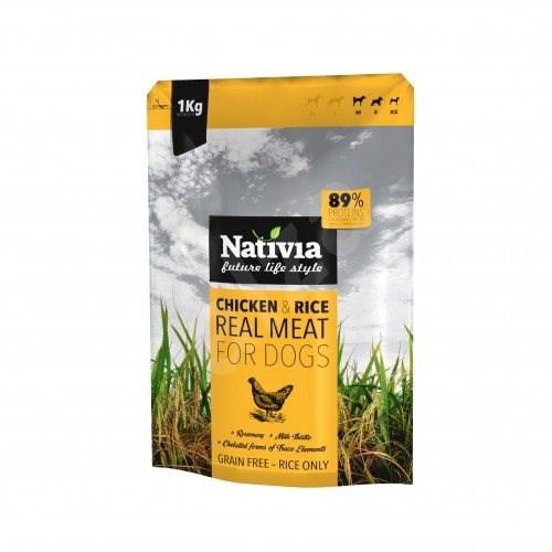Nativia Real Meat - Chicken & Rice 1 kg - Granule pro psy