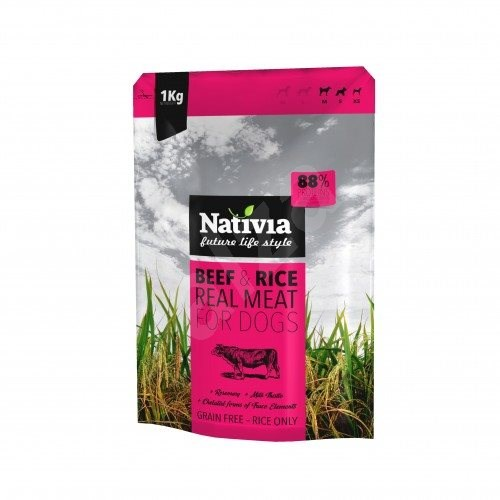 Nativia Real Meat - Beef & Rice 1 kg - Granule pro psy