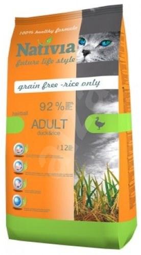 Nativia Adult Hairball - Duck & rice 10 kg - Granule pro kočky