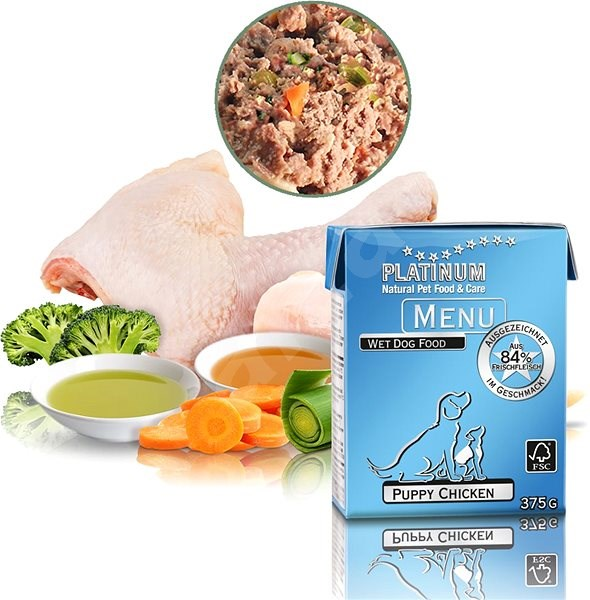 Platinum natural menu puppy chicken 375 g - Paštika pro psy