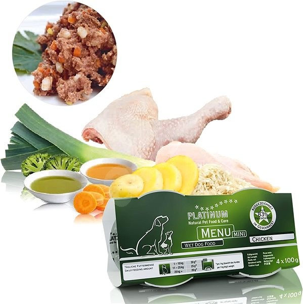 Platinum natural menu mini chicken 4 x 100  g - Paštika pro psy