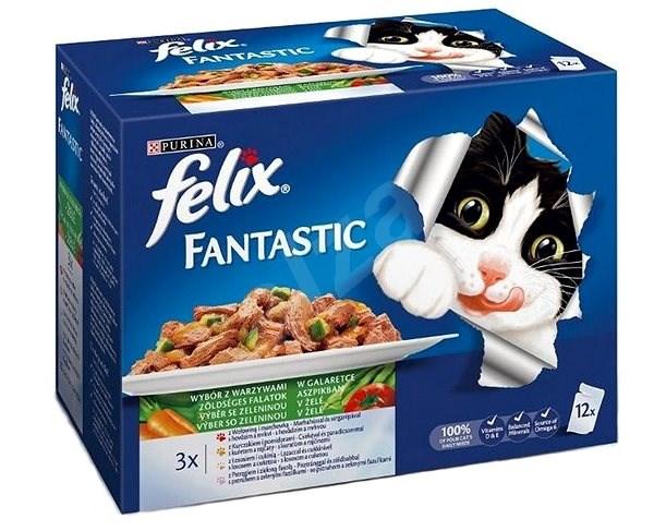 Felix fantastic (12 × 100 g) - výběr v želé se zeleninou - Kapsička pro kočky