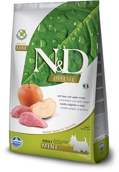 N&D grain free dog adult mini boar & apple 7 kg - Granule pro psy