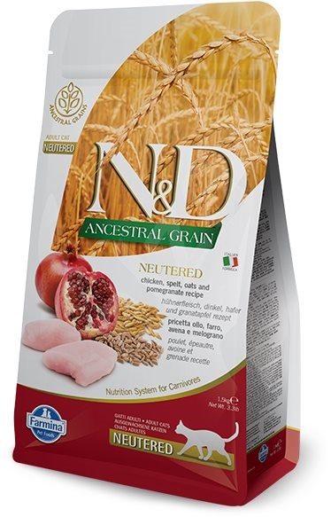 N&D low grain cat neutered chicken & pomegranate 10 kg - Granule pro kočky