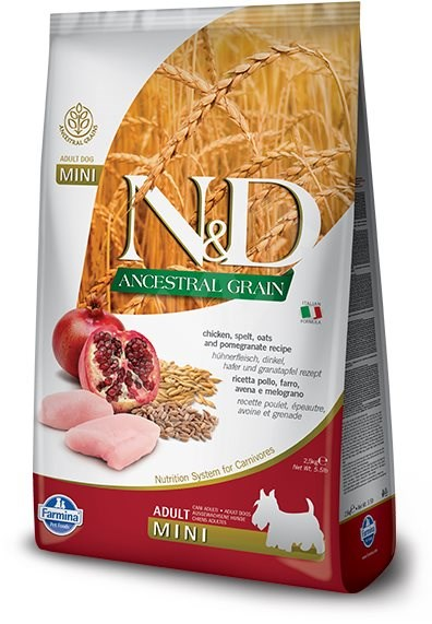 N&D low grain DOG Adult Mini Chicken & Pomegranate 7 kg - Granule pro psy