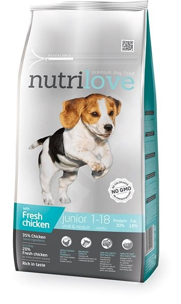 Nutrilove JUNIOR S & M fresh chicken 8 kg - Granule pro štěňata