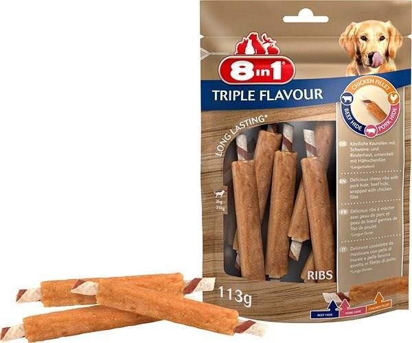 Pochoutka 8in1 Triple Flavour ribs (6ks) - Kost pro psy