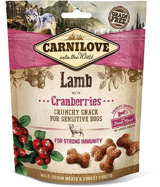 Carnilove dog crunchy snack lamb with cranberries with fresh meat 200 g - Pamlsky pro psy