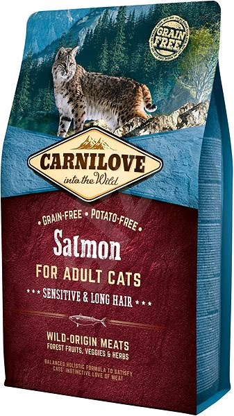 Carnilove salmon for adult cats – sensitive & long hair 2 kg - Granule pro kočky