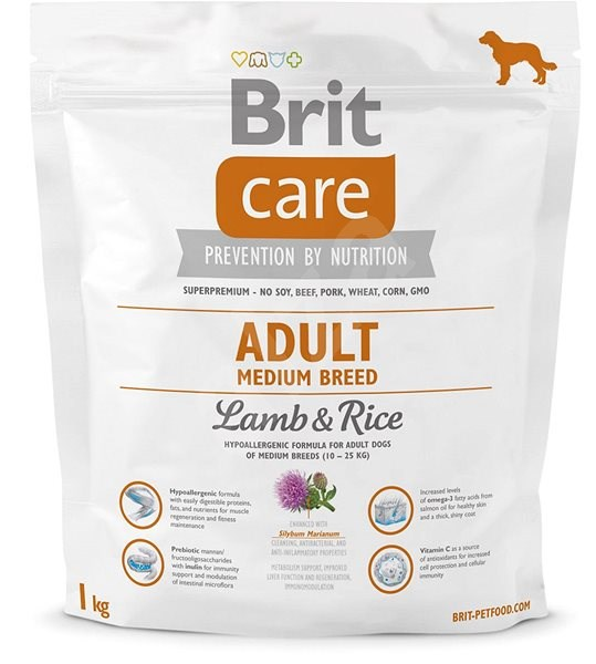 Brit Care adult medium breed lamb & rice 1 kg - Granule pro psy
