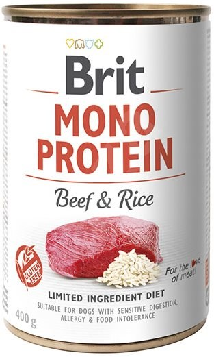 Brit Mono Protein beef & brown rice 400 g - Canned Dog Food