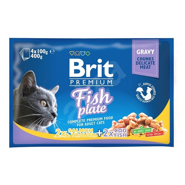 Brit Premium Cat Pouches Fish Plate 400 g (4x100 g) - Kapsička pro kočky