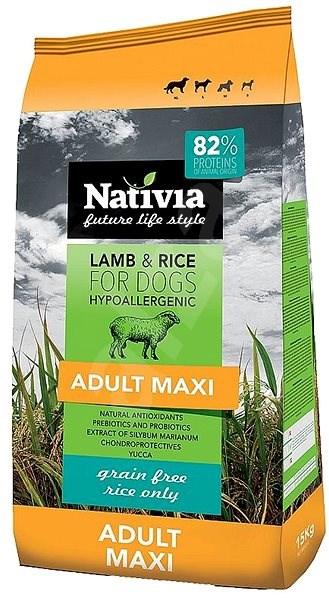 Nativia Adult maxi Lamb & Rice 15kg - Granule pro psy