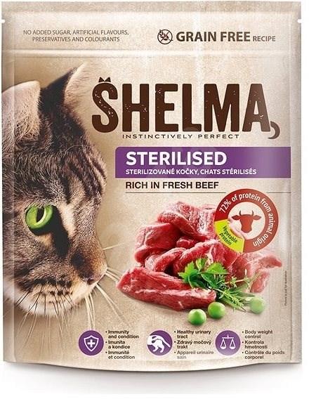 Shelma Sterile bezobilné granule s čerstvým hovězím pro dospělé kočky 750 g - Granule pro kočky