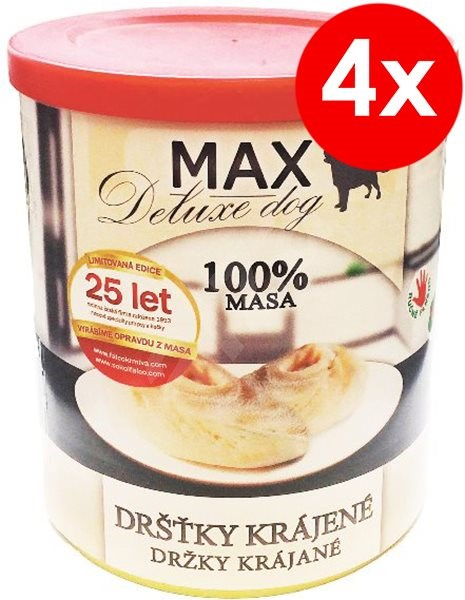 MAX deluxe krájené dršťky 800g, 4ks - Konzerva pro psy