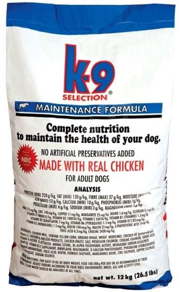K-9 SELECTION MAINTENANCE FORMULA - pro dospělé psy 20 kg - Granule pro psy