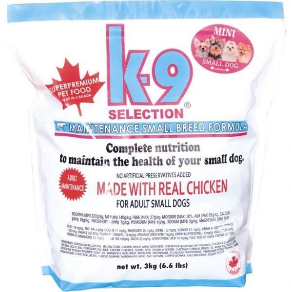 K-9 SELECTION MAINTENANCE SMALL BREED FORMULA - pro dospělé psy malých plemen 3 kg - Granule pro psy