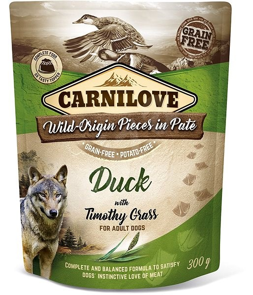 Carnilove Dog Pouch Paté Duck with Timothy Grass 300 g - Kapsička pro psy