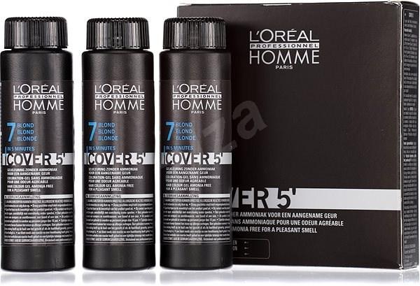 ĽORÉAL PROFESSIONNEL Homme COVER 5' 7 3 x 50 ml (7 - střední blond) - Barva na vlasy pro muže