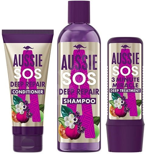 AUSSIE Hair SOS Set Shampoo 290 ml + Conditioner 200 ml + Mask 225 ml - Kosmetická sada