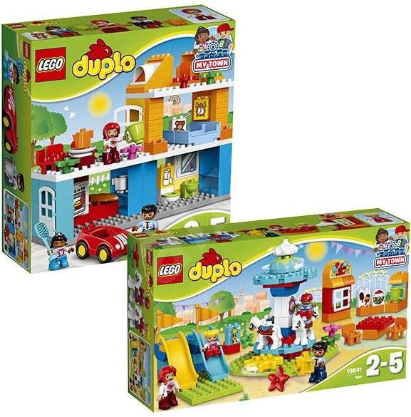 LEGO DUPLO Town 10835 Rodinný dům + LEGO DUPLO Town 10841 Zábavná rodinná pouť - Herní set