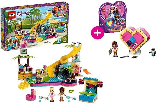LEGO Friends 41374 Andrea a party u bazénu a LEGO 41357 Oliviina srdcová krabička - Stavebnice