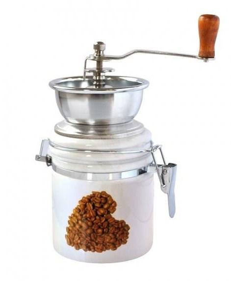 Toro Mlýnek na kávu, porcelán, nerez, motiv Srdce - Mlýnek na kávu