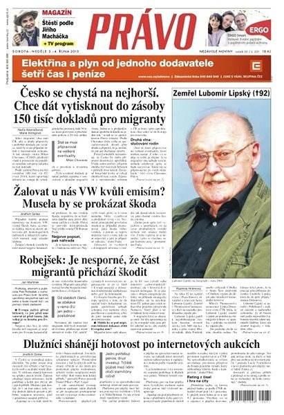 Právo - 03-10-2015 - Elektronické noviny