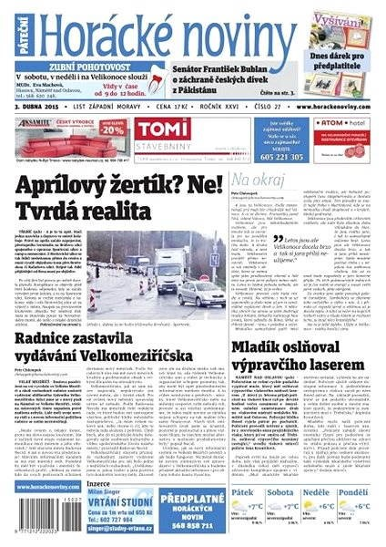 Horácké noviny - pátek 3. 4. 2015 č. 27 - Electronic Newspaper