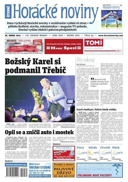 Horácké noviny - úterý 28.4.2015 č. 34 - Electronic Newspaper