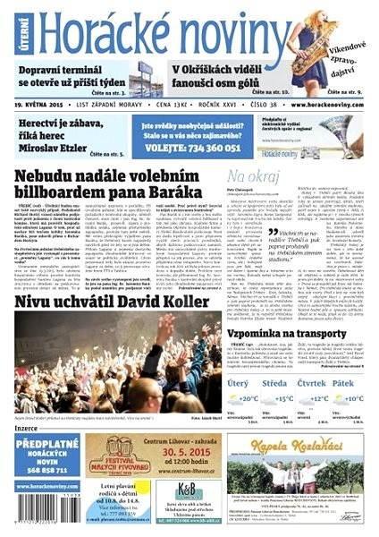Horácké noviny - úterý 19.5.2015 č. 38 - Electronic Newspaper