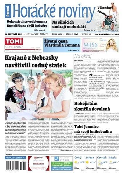 Horácké noviny - Úterý 21.7.2015 č. 56 - Electronic Newspaper