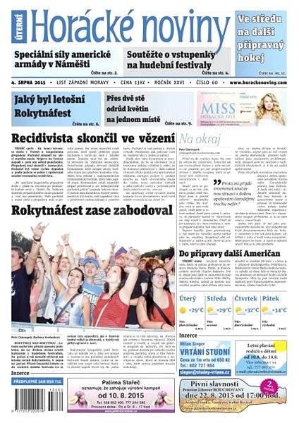 Horácké noviny - Úterý 4.8.2015 č. 60 - Electronic Newspaper